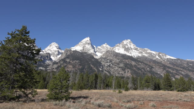 wyoming vista of grand teton and teton glacier - grand teton stock-videos und b-roll-filmmaterial