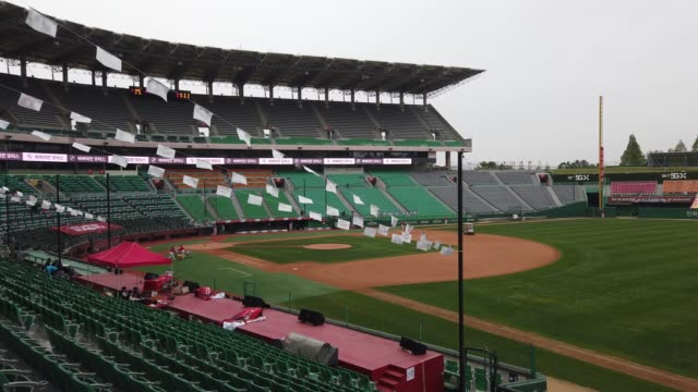 wyverns staffs prepare for the korean baseball organization league opening game between sk wyverns and hanwha eagles at the empty sk happy dream... - climbing equipment stock videos & royalty-free footage