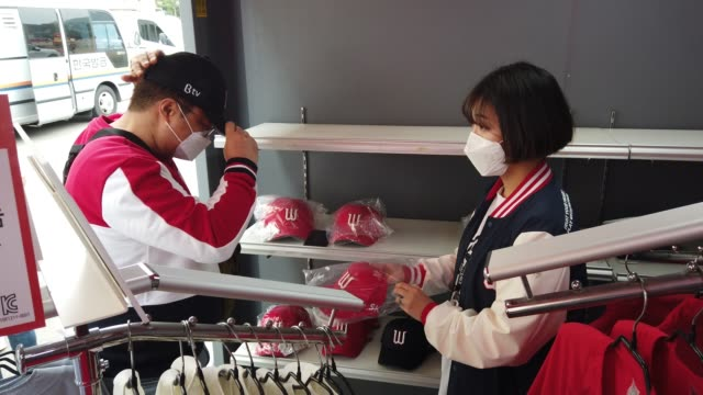 sk wyverns staffs prepare for the korean baseball organization league opening game between sk wyverns and hanwha eagles at the empty sk happy dream... - coreano video stock e b–roll