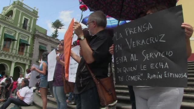 xalapa in veracruz was one of several mexican cities where journalists held protests on sunday against the murder of a photojournalist and four women... - photojournalist stock videos & royalty-free footage