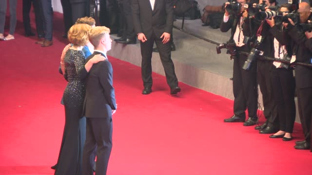 Xavier Dolan Anne Dorval Suzanne Clement Olivier Pilon Nancy Grant at 'Mommy' Red Carpet at Palais des Festivals on May 22 2014 in Cannes France