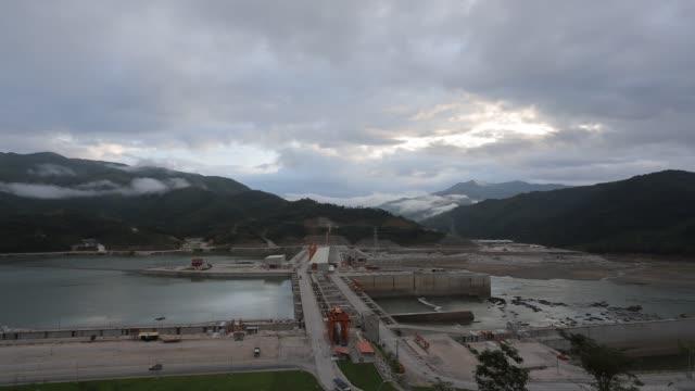 xayaburi dam, hydroelectric dam on the mekong river in northern laos - mekong delta stock videos & royalty-free footage