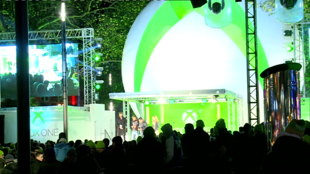 Xbox One Launch XBox One stage and crowd of people / Edwards and Welby on stage with gamers / crowd / xbox one paper lanterns