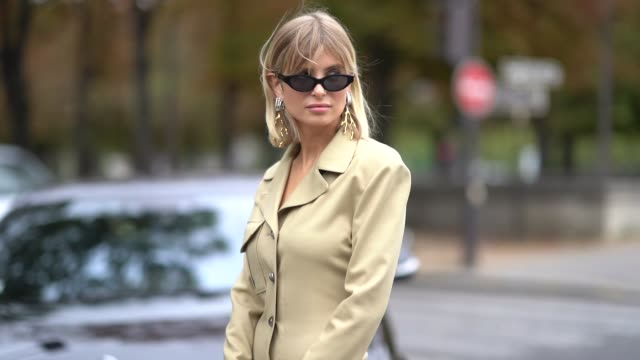 xenia adonts wears earrings, sunglasses, a light khaki long sleeves shirt-dress, a chloe grey and white crocodile pattern bag, black and khaki... - orecchini video stock e b–roll