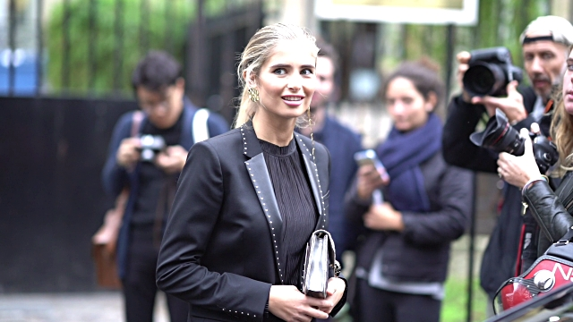 vídeos de stock, filmes e b-roll de xenia van der woodsen wears a black blazer jacket a black top black pants a silver bag pink glitter shoes outside john galliano during paris fashion... - xenia van der woodsen