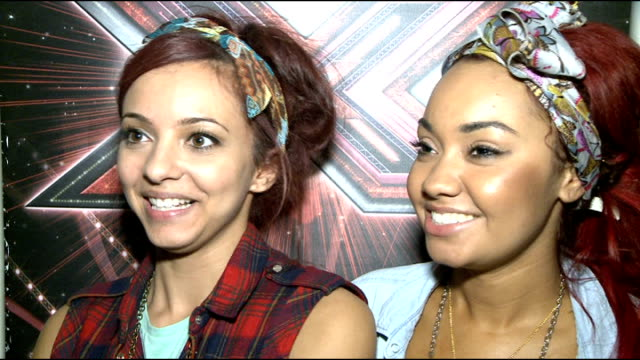 xfactor contestants interviewed little mix leighanne pinnock and jade thirlwall interview sot we are the last band standing now unbelievable can't... - one way stock videos and b-roll footage
