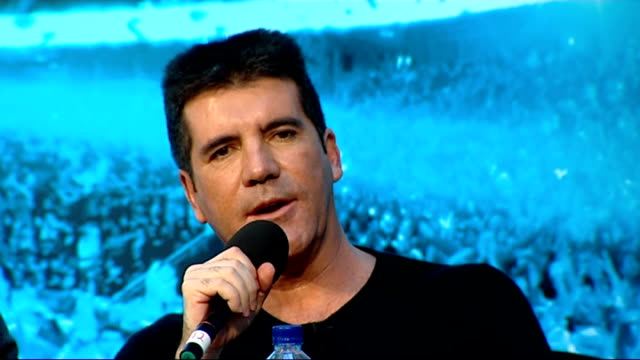 press conference with contestants and judges; cowell press conference sot - ... the minute you start taking the charts too seriously, it's boring /... - the x factor stock videos & royalty-free footage