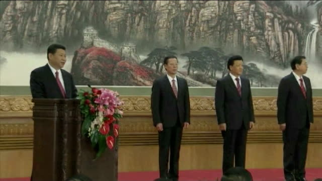 xi jinping becomes chinese president; tx beijing: xi jinping speaking on stage with newly elected chinese leaders beside xi jinping speech sot - on... - president stock videos & royalty-free footage