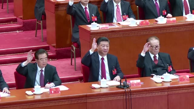 xi jinping is elevated to the pantheon of china's most powerful leaders as his name is enshrined in the communist party constitution alongside... - communist party stock videos and b-roll footage