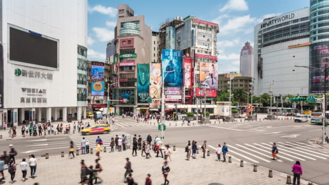 ximending taipei pedestrian area time lapse - taipei stock videos & royalty-free footage