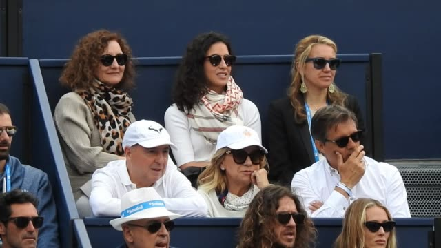 xisca perelló and other celebrities attend rafa nadal game at the open banc sabadell in barcelona - ピケ点の映像素材/bロール