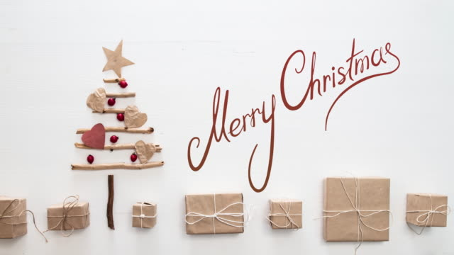 xmas tree stop motion - greeting card stock videos & royalty-free footage