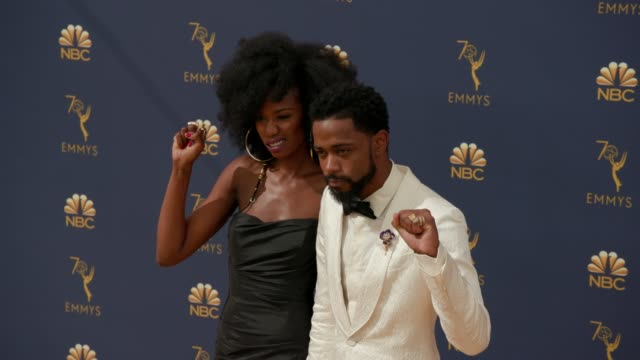 xosha roquemore and lakeith stanfield at the 70th emmy awards arrivals at microsoft theater on september 17 2018 in los angeles california - 70th annual primetime emmy awards stock videos and b-roll footage