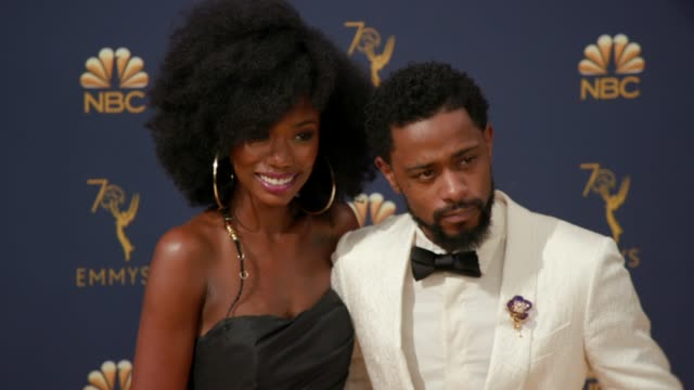 vídeos de stock, filmes e b-roll de xosha roquemore and lakeith stanfield at the 70th emmy awards arrivals at microsoft theater on september 17 2018 in los angeles california - 70th annual primetime emmy awards