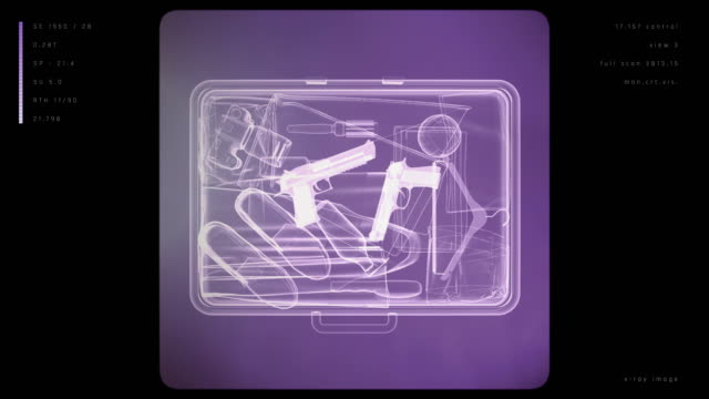 X-ray image of suitcase with weapons
