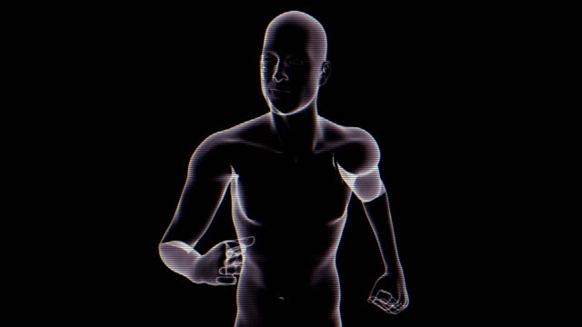 x-ray of running man   loopable - biomedical illustration stock videos & royalty-free footage