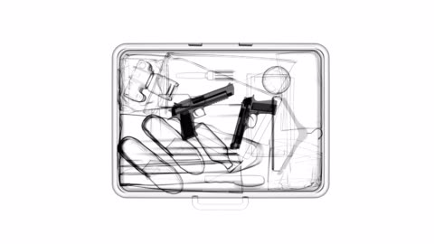 x-ray of suitcase with guns - x ray image stock videos & royalty-free footage