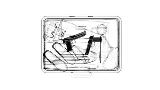 X-ray of suitcase with guns