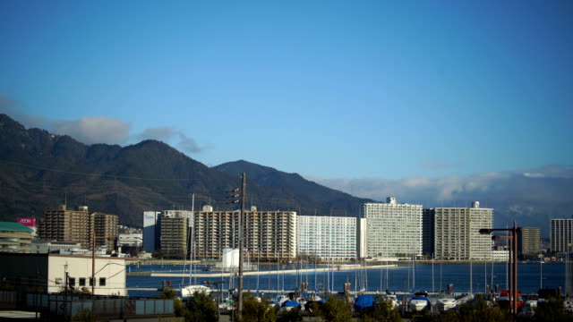 yacht harbor at biwako - satoyama scenery stock videos & royalty-free footage