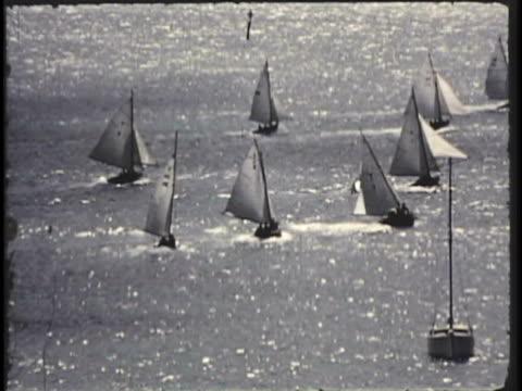 vídeos y material grabado en eventos de stock de 1955 montage pov ws ha pan ms yacht race / new zealand / audio - 1955