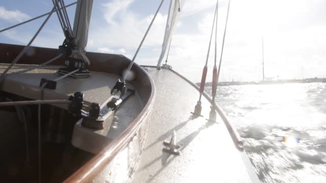 Yacht sailing at speed, close up of bow