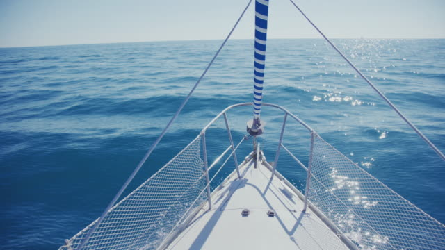 yacht sailing boat bow during cruise - ship's bow stock videos and b-roll footage