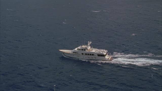 LOW AERIAL, Yacht sailing in ocean