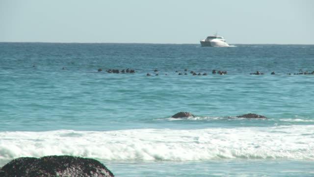 vídeos y material grabado en eventos de stock de a yacht sails along the coast as waves break against the shore. available in hd. - pasear en coche sin destino