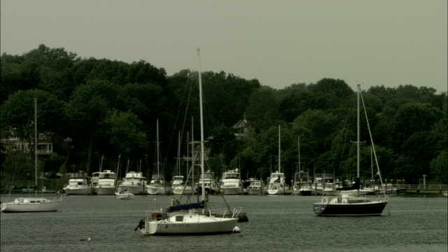 yachts anchored on a lake. available in hd. - anchored stock videos & royalty-free footage