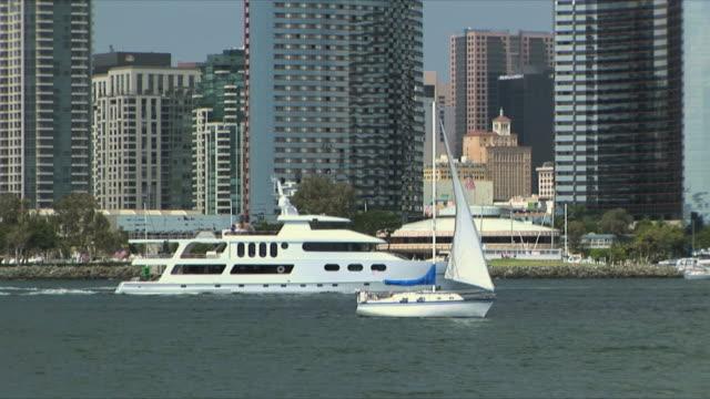 MS Yachts and boats sailing along city waterfront, San Diego, California, USA