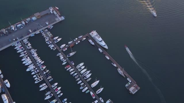 Yachts at the marina,4k drone video