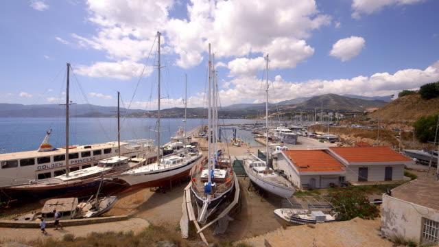 yachts in boat yard - western script stock videos & royalty-free footage