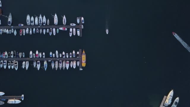 Yachts in the sea,4k drone video