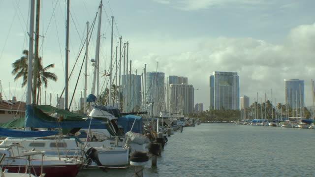 ws yachts moored in marina, city skyline in background / honolulu, hawaii, usa - vista marina stock videos & royalty-free footage