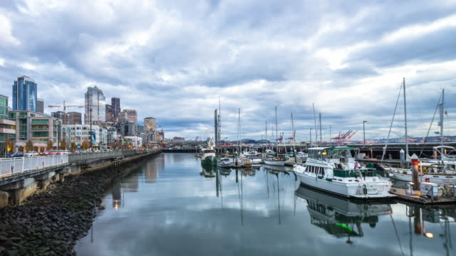 yachts on water in harbor,cityscape and skyline of seattle. timelapse 4k - waterfront stock videos & royalty-free footage