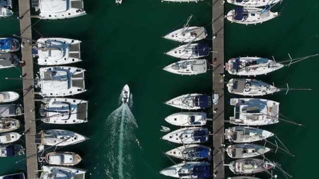 yachts parking aerial view - anchorage alaska stock videos & royalty-free footage