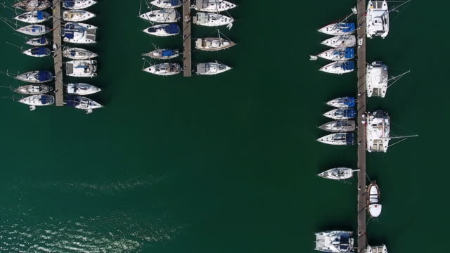 yachts parking aerial view - marina stock videos & royalty-free footage