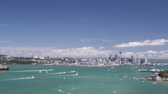 T/L WS HA Yachts returning to Auckland Harbour after the regatta on Auckland Anniversary Day/ Auckland, New Zealand 2009