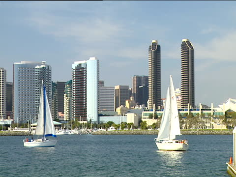 yachts sail though san diego marina skyscrapers in background under clear blue sky - san diego stock videos and b-roll footage