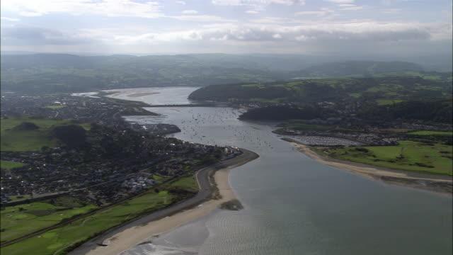 aerial, yachts sailing in harbor, conwy, wales - wales bildbanksvideor och videomaterial från bakom kulisserna