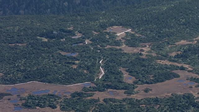 aerial, yahedaira on azuma mountain range, japan - 山小屋点の映像素材/bロール