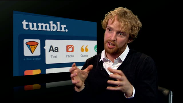 yahoo buys tumblr for 1 billion dollars tom ollerton interview sot - yahoo brand name stock videos & royalty-free footage