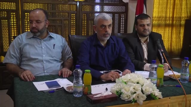 yahya sinwar hamas movement's leader in gaza strip attends a meeting with a group of young people at a hotel in gaza on september 28 2017 - hamas stock videos & royalty-free footage