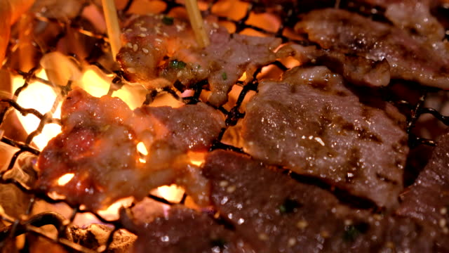 Yakiniku,  beef grilling on fire Japanese styles.