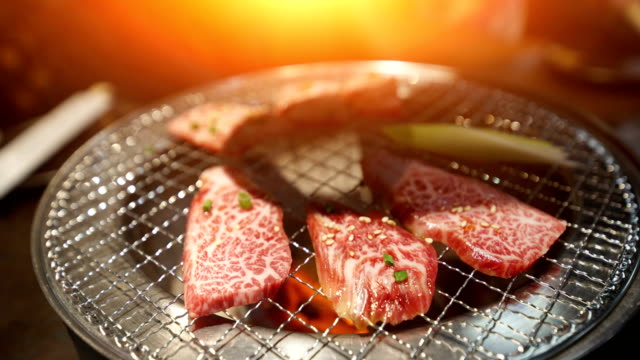 yakiniku, japanese beef grilled at tokyo japan. - japanese food stock videos and b-roll footage