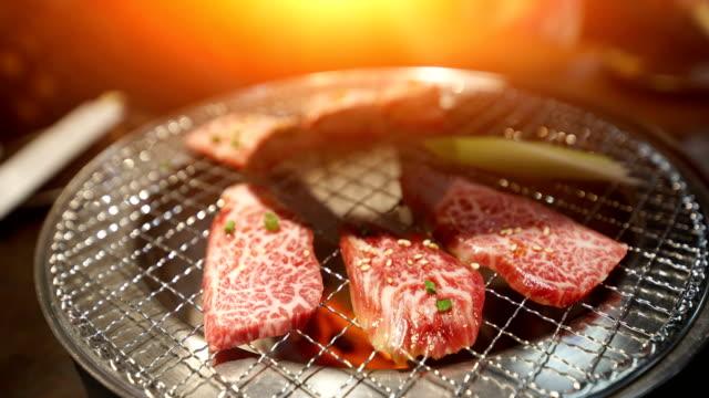 vídeos de stock, filmes e b-roll de yakiniku, japonês carne grelhada em tóquio no japão. - comida japonesa