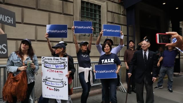yale alumni gather in front of the yale club to voice their opposition to the confirmation of republican supreme court nominee judge brett kavanaugh... - yale university stock videos and b-roll footage