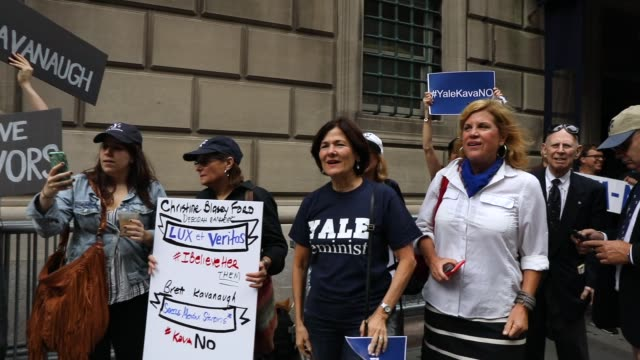 Yale alumni gather in front of the Yale Club to voice their opposition to the confirmation of Republican Supreme court nominee Judge Brett Kavanaugh...