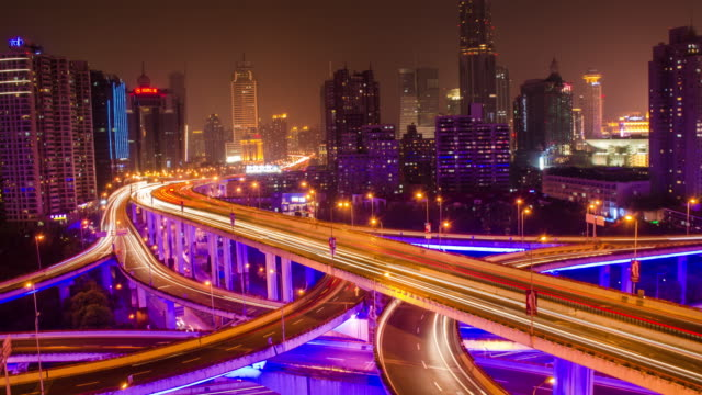 Yan an junction traffic timelapse video of Shanghai city at night