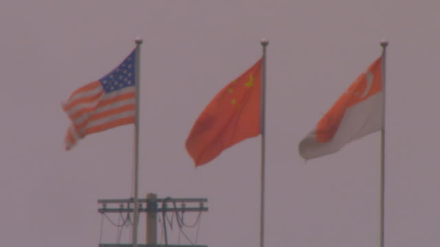 yang zhou, chinathree flags - stars and stripes stock videos & royalty-free footage